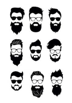 ひげを生やした男性の顔、さまざまな散髪、口ひげ、あごひげのヒップスターのセットのイラスト。シルエット男性散髪フラットスタイル。