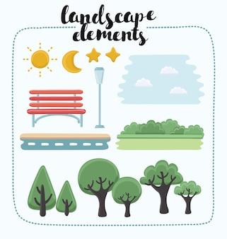 公園内のさまざまな種類のオブジェクトのセットのイラスト