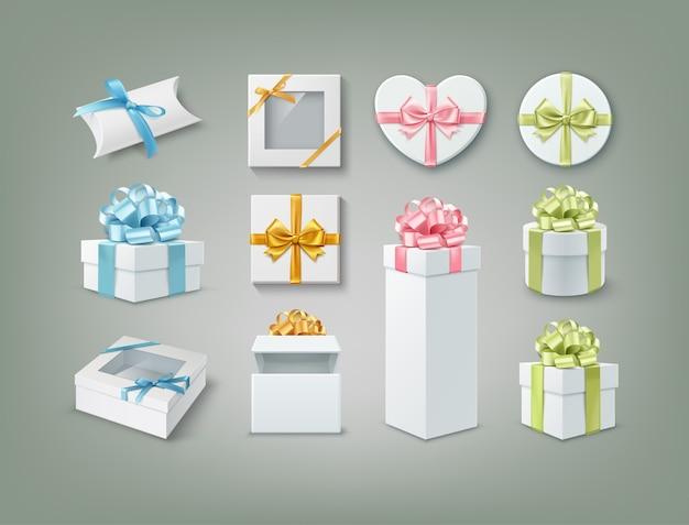 Иллюстрация набора подарочных коробок разных форм Premium векторы