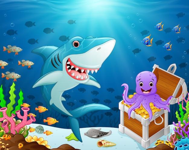 Иллюстрация акулы под морем