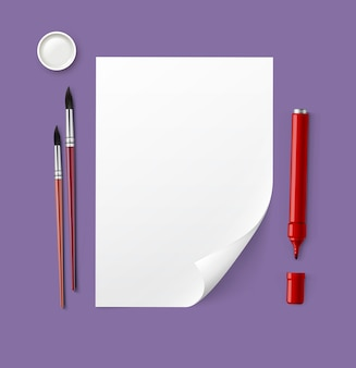 描画ツールと紙のイラスト