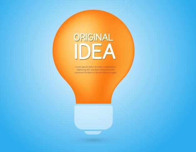 Иллюстрация блеск желтой лампочки. концепция творческой идеи. плоский стиль делового дизайна