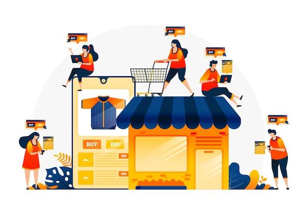 Eコマースアプリでの買い物とお金の使い方のイラスト。 eコマースであなた自身の店を所有してください。オンラインショップで適切なアイテムを見つける