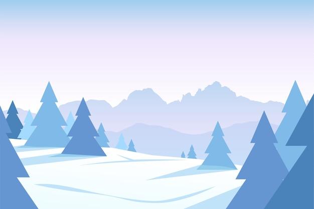 Иллюстрация тихого заснеженного леса с горным хребтом на закате