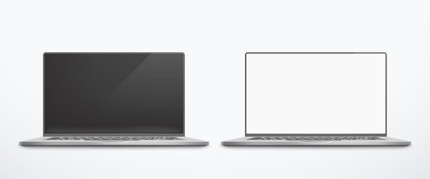 Иллюстрация серебряных открытых ноутбуков, вид спереди