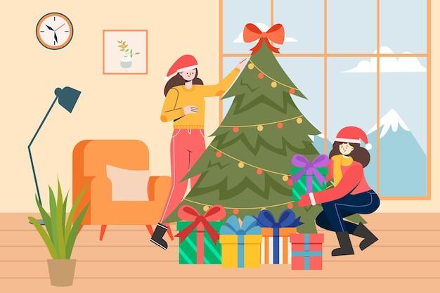 自宅でクリスマスを祝う姉妹のイラスト