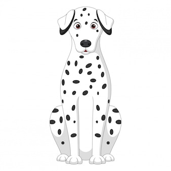 Иллюстрация сидящей далматинской мультяшной собаки на белом фоне