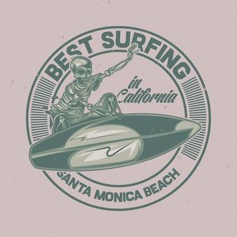 サーフィンボード上のスケルトンのイラスト