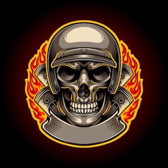 Иллюстрация байкер череп с логотипом пламени талисман