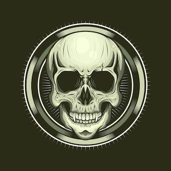 Иллюстрация головы черепа и круга реалистичный дизайн