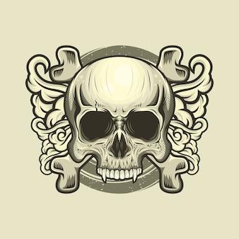 두개골 머리와 십자가 뼈 장식의 그림 자세한