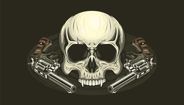 Иллюстрация головы черепа и подробные пистолеты
