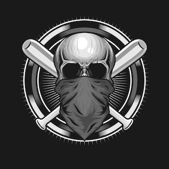 サークルと野球のバットのデザインと頭蓋骨のヘッドマスクのイラスト