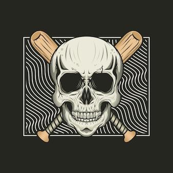 木製のバットのデザインと頭蓋骨の頭のイラスト