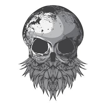 Hipster 수염과 두개골의 그림