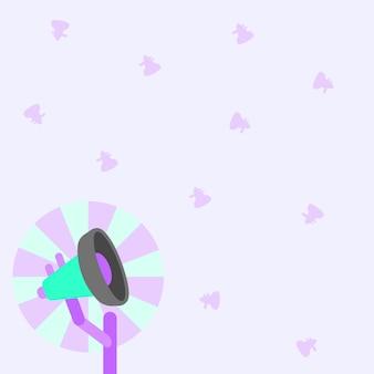 Иллюстрация небольшой полюс мегафона с солнцем поднимается мягко, делая новые объявления в открытом космосе. рупор на стержне осторожно продвигает позднюю рекламу в пустом месте.