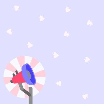 Иллюстрация небольшого полюса мегафона с солнцем, мягко поднимающимся, делая новые объявления на открытом воздухе