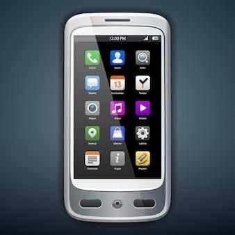アイコンを持つスマートフォンのイラスト。 。