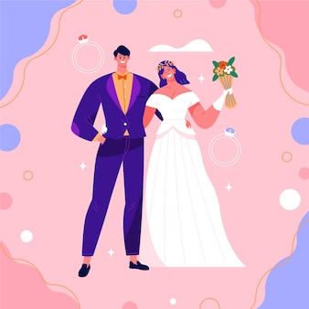 웃는 결혼식 한 쌍의 그림