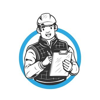 Иллюстрация улыбающегося инженера в шлеме