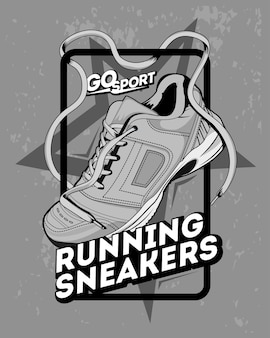 Иллюстрация кроссовок, заниматься спортом
