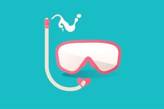 Illustration of snorkel icon on blue background