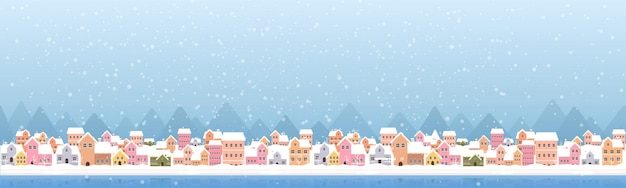 雪の町のバナーデザインのイラスト