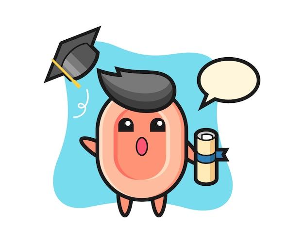 卒業式、tシャツ、ステッカー、ロゴの要素のかわいいスタイルで帽子を投げる石鹸漫画のイラスト
