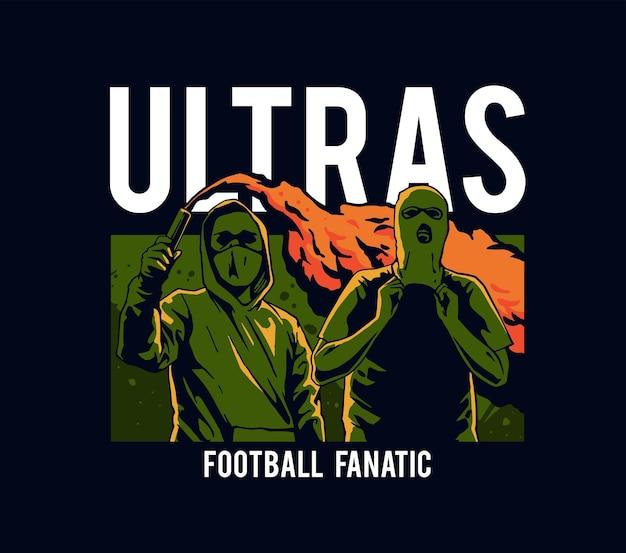 サッカーサポーター狂信者のイラスト