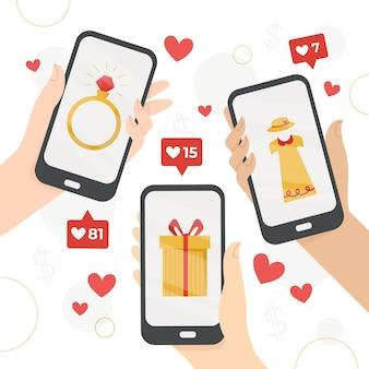 Иллюстрация концепции маркетинга в социальных сетях