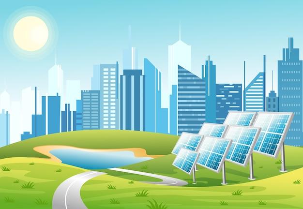 緑の青緑色の背景に太陽と都市の高層ビルのスカイラインと太陽光発電パネルのイラスト。エコグリーンシティのテーマ。フラットな漫画のスタイルの生態学的なエネルギーの概念。