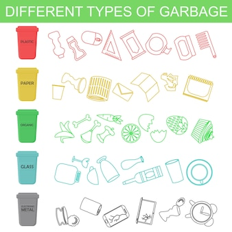 さまざまな種類のゴミをラインとフラットスタイルで並べ替えのイラスト。