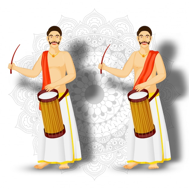 マンダラパターンの背景に南インドのドラマーキャラクターのイラスト。
