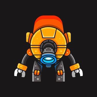 キャラクター、ステッカー、tシャツのイラスト用スペースロボットのイラスト