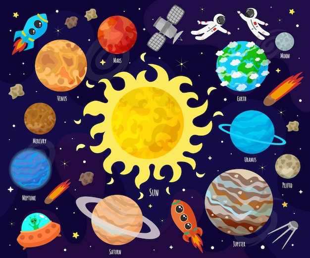 공간, 우주의 그림입니다. 귀여운 만화 행성, 소행성, 혜성, 로켓. 아이 그림.