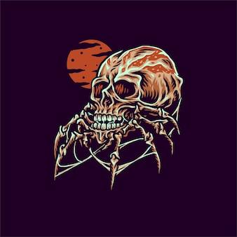 거미 두개골의 그림, 디지털 색상으로 손으로 그린 선 스타일