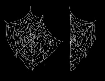 Illustration of spiderweb, whole and part, white spooky cobweb isolated on black background.