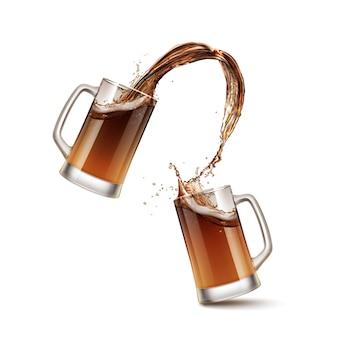 Иллюстрация брызг пива в двух стеклянных кружках