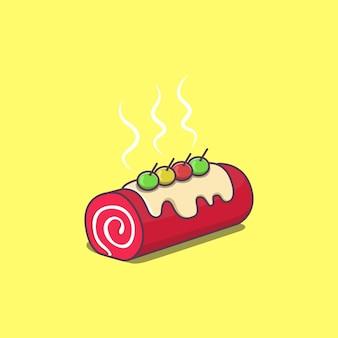 甘味料とさくらんぼを加えたスポンジケーキのイラスト