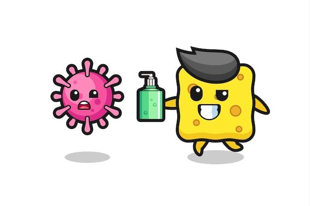 Иллюстрация персонажа из губки, преследующего злобный вирус с дезинфицирующим средством для рук, милый стиль дизайна для футболки, наклейки, элемента логотипа