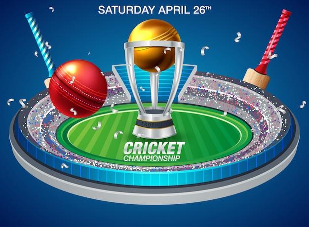 Иллюстрация стадион крикет с мячом на поле