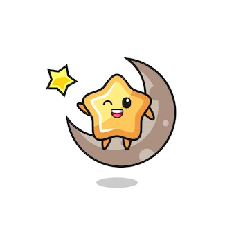 半月に座っている星の漫画のイラスト、tシャツ、ステッカー、ロゴ要素のかわいいスタイルのデザイン