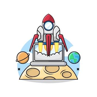 ロケットのスタートアップビジネスコンセプトのイラストは、ノートパソコンの中で離陸します。