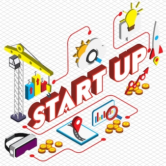Illustration of startup concept in isometric graphic