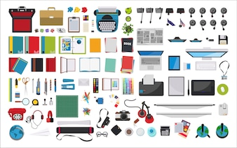 Illustration of stationery at workplace