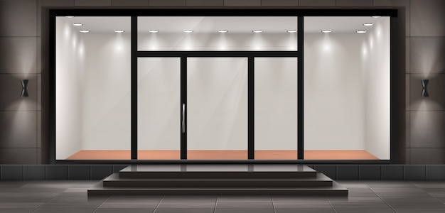 Иллюстрация магазина с ступенями и входной дверью, витрина с подсветкой