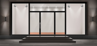 Illustration of storefront with steps and entrance door, glass illuminated showcase