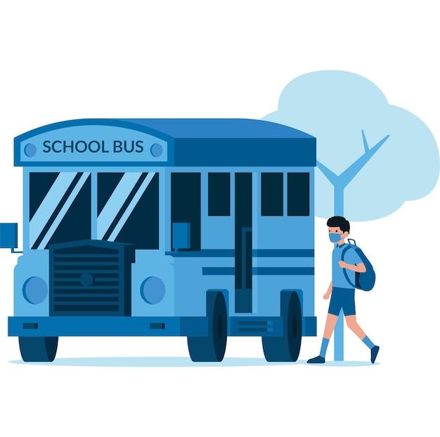 스쿨 버스에 타는 학생의 일러스트