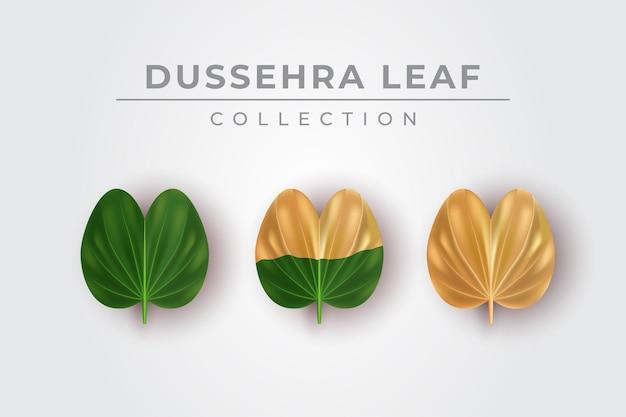 Иллюстрация стильной коллекции зеленых и золотых листьев dussehra, установленной для счастливого фестиваля dussehra