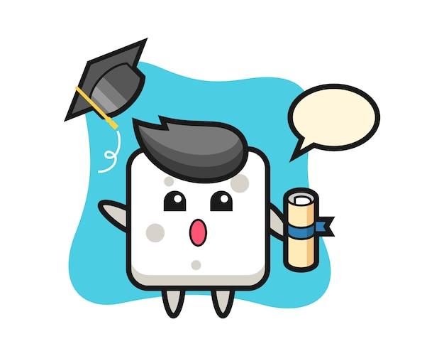 卒業、tシャツ、ステッカー、ロゴの要素のかわいいスタイルで帽子を投げるシュガーキューブ漫画のイラスト